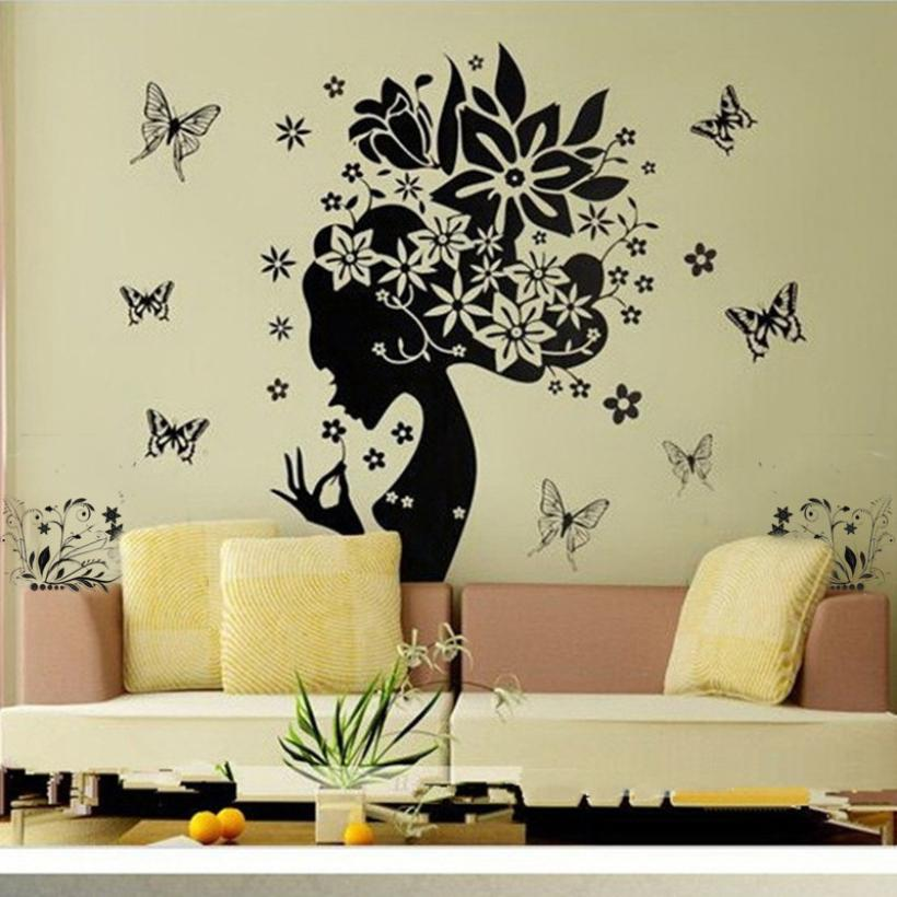 KAKUDER Pretty Butterfly Flower Fairy Wall Sticker Girl Gift PVC Home Decor Decals For Living Room DIY Happy Sale ap428