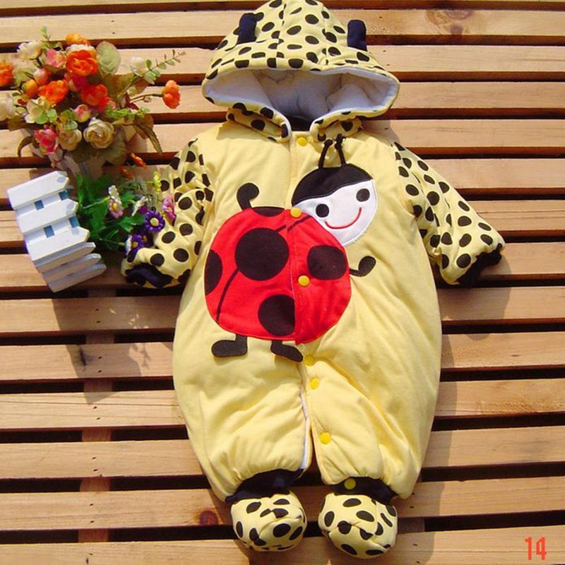 Cute Ladybug and Cow Body Baby Romper Thick Padded Cotton Jumpsuits Overall Infant Clothing Wear Newborn Girl Boy Winter Clothes newborn baby girls rompers cotton padded thick winter clothing set cartoon bear infant climb hooded clothes babies boy jumpsuits