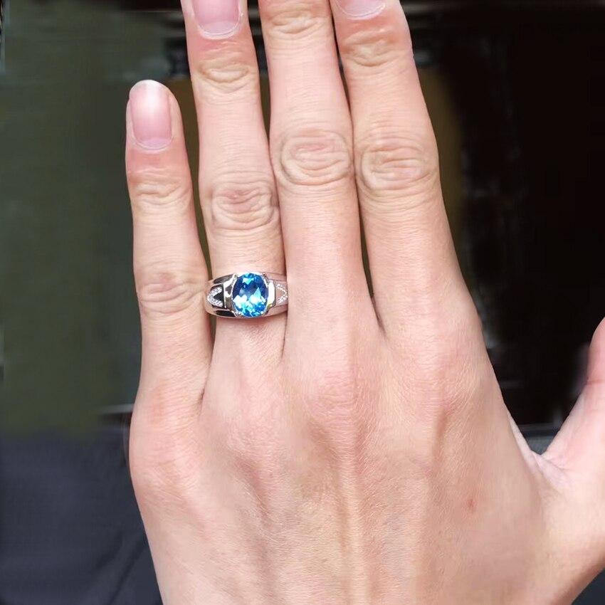 Uomini Anelli Genuine Natural Topaz Gem Uomo Reale 925 Sterling Silver Preziosa Blu Gemstone Fine Jewelry-in Anelli da Gioielli e accessori su  Gruppo 3
