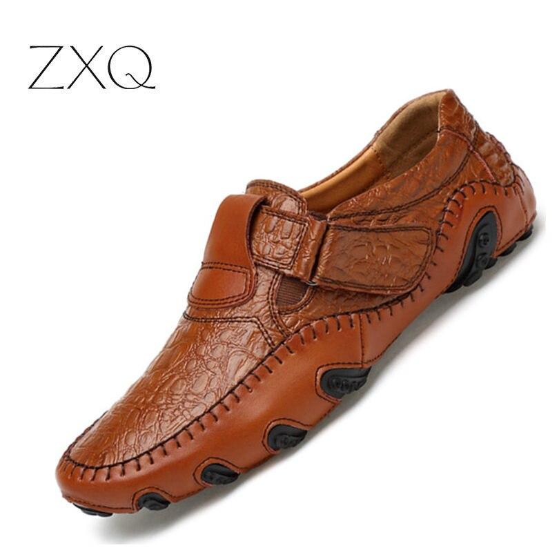 Novo Design 2017 Primavera Verão Homens Sapatos Baixos Dividir Couro Macio Masculino Mocassim Condução Sapatos Mocassins Sapatos Casuais Homens