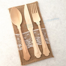Free Ship 120pcs Disposable Wooden Cutlery Eco Friendly Biodegradable Forks Spoons Knives Spades 20cm Utensils