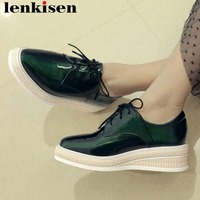 2019 Concise style plus size med bottom platform square toe lace up green sneakers ventilated casual wear vulcanized shoes La1