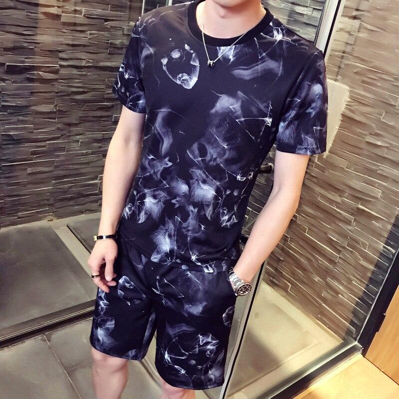 2018 Summer New Leisure Fashion Short Sleeve Set print T-shirts + Short Pants Men Summer Tracksuit Men Casual Brand Tee Shirts