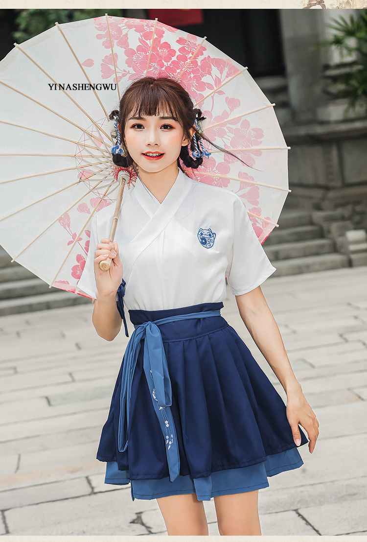 Hanfu Costume Dress Women Improved Hanfu Daily Short Sleeve Hanfu Embroidered Crossdresses Costumes Han Elements Student Set 10