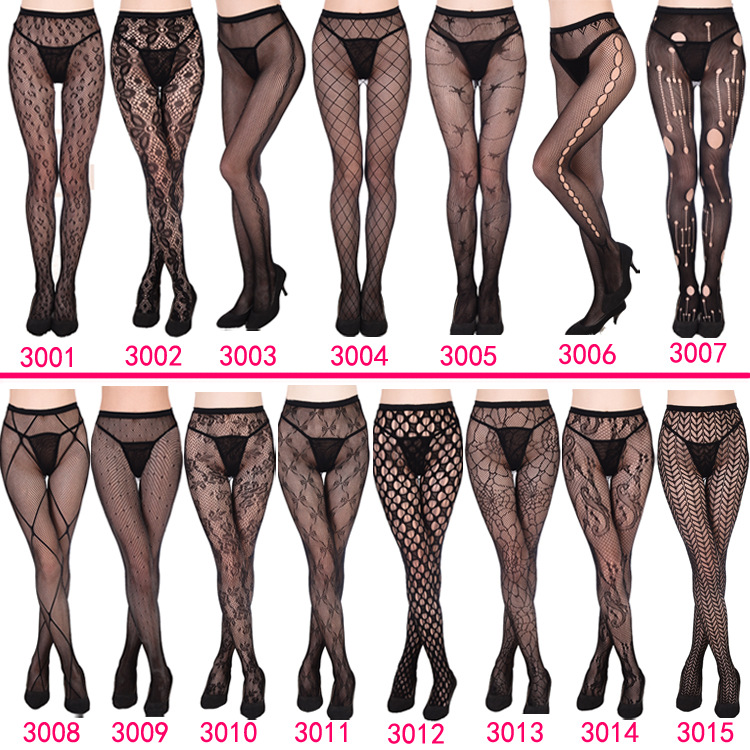 2017 Womens sexy fishnet tights Jacquard weave pantyhose, yarns sexy Garter net Stockings hose sexy lingerie collant 15 Styles