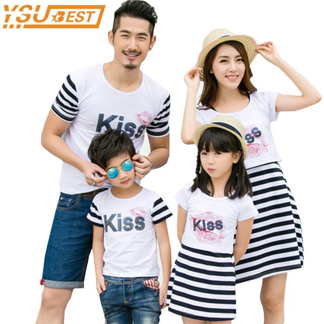 8c2255928bc4e US $6.55 25% OFF|Family Matching Outfits New 2018 Summer Mother And  Daughter Dresses Paillette KISS Father Son T Shirts Family Look Women  Dresses-in ...