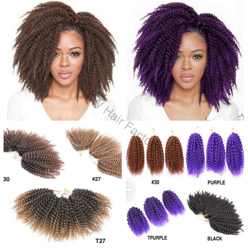 Crochet Braids Curly Bob : Afro Kinky Curly Mali Bob Crochet Braids Twist Braiding Marley Braid ...