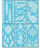 12 pezzi/set Nuovo Merletto orologio Bianco flash Henna Tattoo Sticker Totem Farfalla Sole Modelli di Marca flash Tatuaggio Temporaneo Body Art