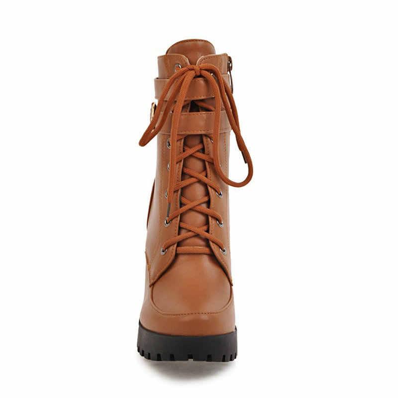Tıknaz yüksek topuklu kadın ayak bileği çizmeler Lace Up sonbahar kış platformu bayanlar çizmeler büyük boy moda ayakkabı beyaz siyah kahverengi 2019
