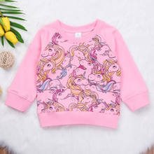 57c0a71309e04 Pudcoco модные Розовый Единорог Толстовки дети Обувь для девочек пуловер с  длинными рукавами Толстовка детская одежда весна-осен.
