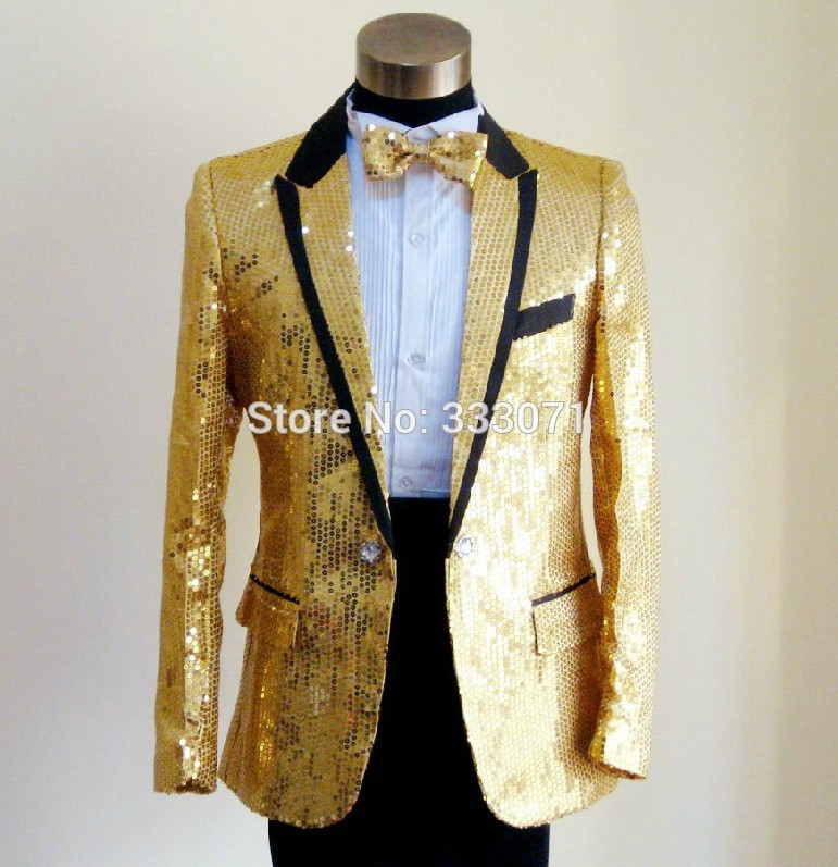 Custom Made Slim Fit Sequins Groom Tuxedos White Black Gold Red ...