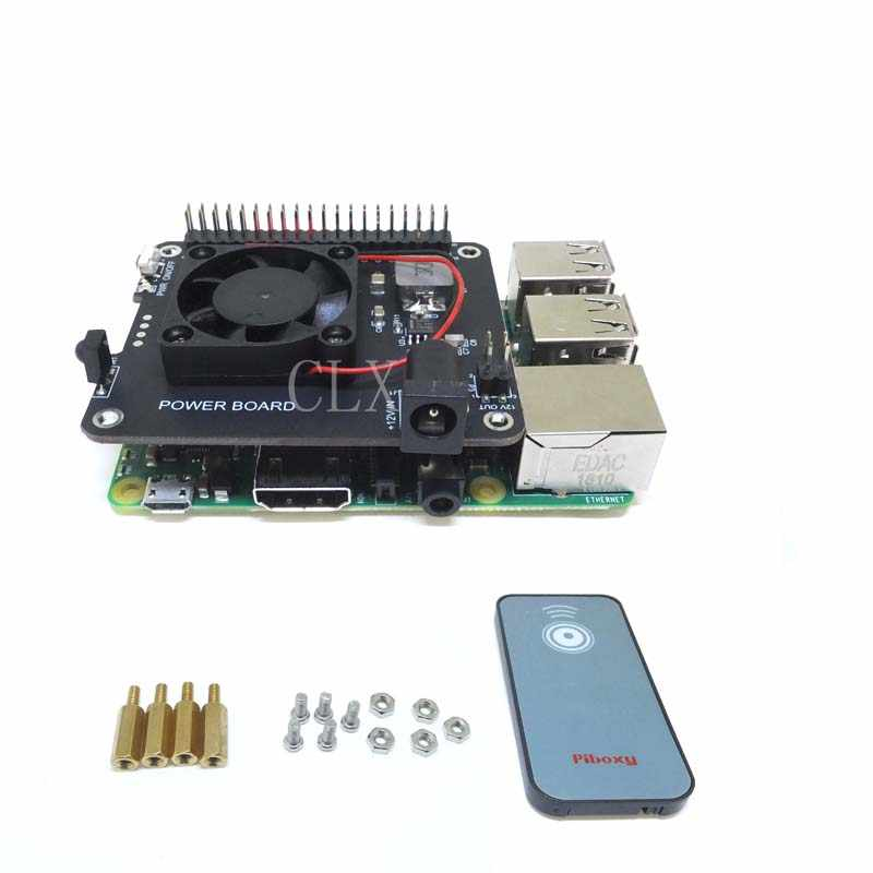 DockerPi PowerBoard for Raspberry Pi 4B&3B+&All Platform Power Supply with Safe Shutdown Auto Cooling Fan Expansion Board