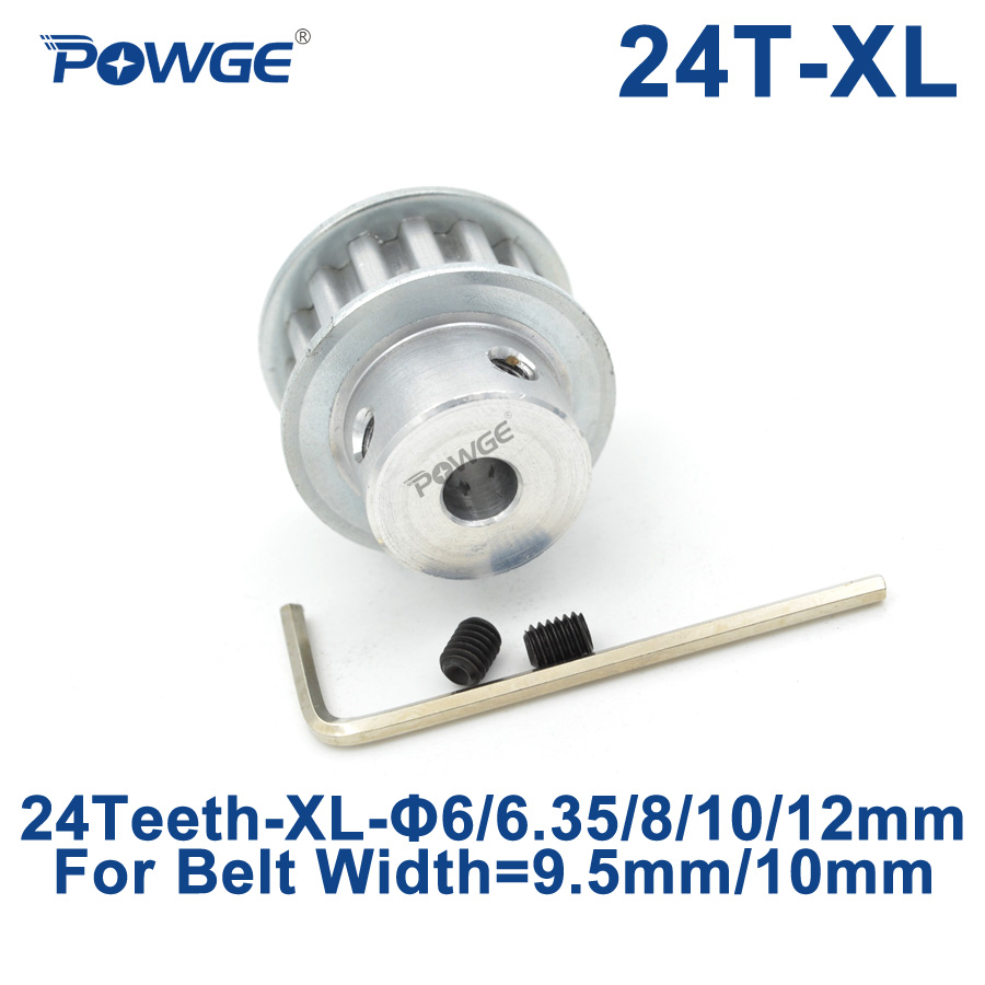 POWGE Trapezoid 24 Teeth XL Timing pulley Bore 6/6.35/8/10/12mm for width 9.5mm XL Synchronous Belt 24-XL-037 BF 24teeth 24TPOWGE Trapezoid 24 Teeth XL Timing pulley Bore 6/6.35/8/10/12mm for width 9.5mm XL Synchronous Belt 24-XL-037 BF 24teeth 24T