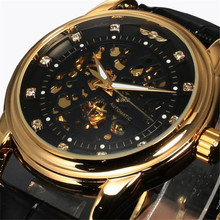 CocoShine D-868 Free shipping & Wholesale Fashion New Men Luxury Classic Transparent Steampunk Skeleton Mechanical Leather Watch