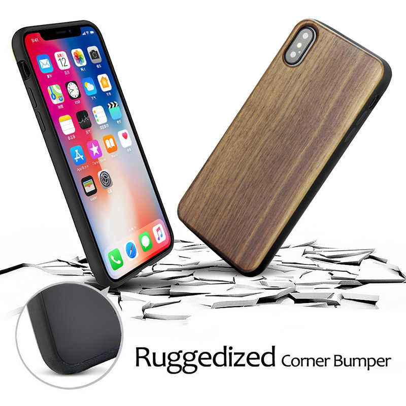wholesale dealer bcd2e 394d6 YFWOOD Luxury Case For Apple iPhone X XS 7 7 Plus Wood Case Genuine Real  Natural Wooden Back Cover For iPhone 8 8 Plus X Cases