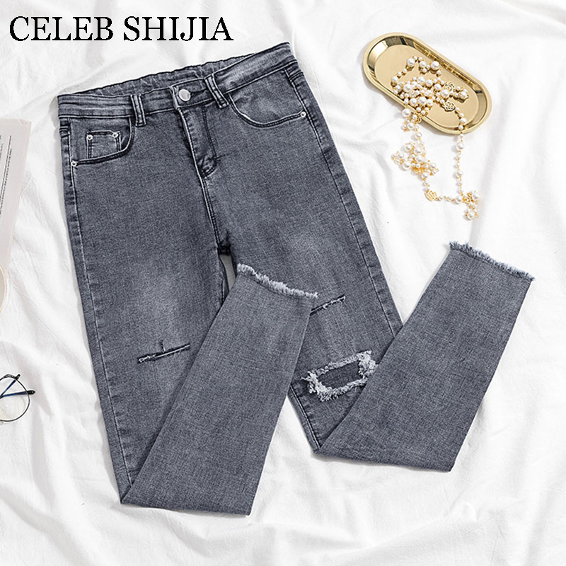 2019 Jeans Female Denim Pants Hole Korean Fashion Buttom Womans Pencil Pants Gray Denim Elastic Trousers For Ladies Donna