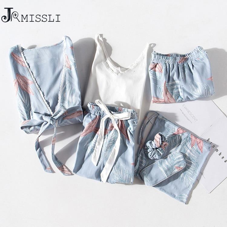 JRMISSLI nouvelle Robe Sexy col en v coton Robes vêtements de nuit printemps automne femmes Pyjama 7 pièces ensemble Robe ensemble sous-vêtements Lingerie Femme