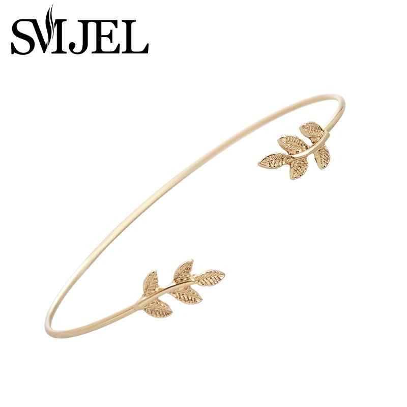 SMJEL 2017 New Fashion Tiny Leaf Bracelet Bangles for Women Simple Leaf Open Cuff Bangles Pulseras G003