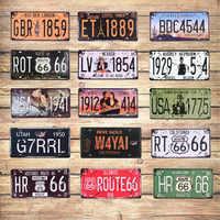 Film célébrité USA Vintage métal étain signes Route 66 numéro de voiture Vintage Garage Plaque d'immatriculation Plaque affiche Club mur 30*15 CM C4