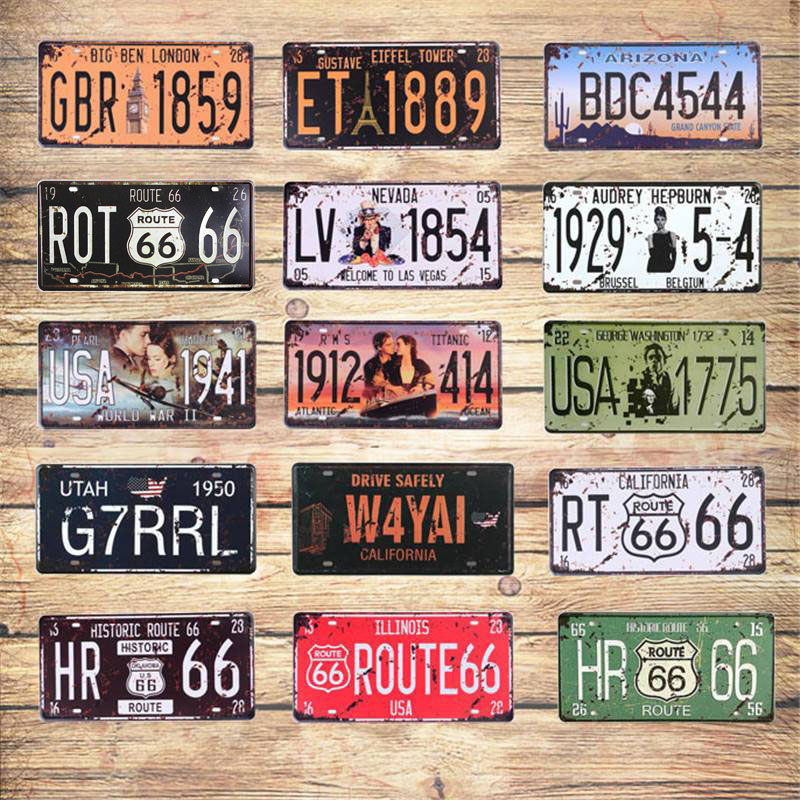 Film célébrité Vintage métal peinture signe Plaque étain signes Route 66 voiture Garage Plaque d'immatriculation affiche Club mur 30*15CM C4