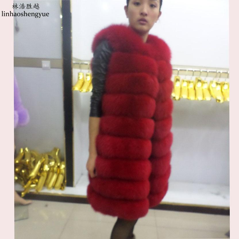 Linhaoshengyue 90CM երկար իրական մորթյա աղվեսի - Կանացի հագուստ - Լուսանկար 4