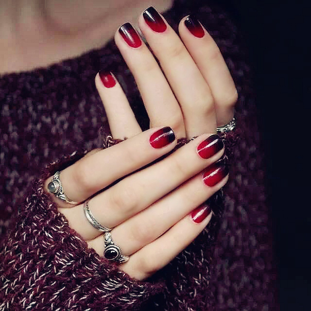 24pcsset super nice acrylic fake nails color black red gradient 24pcsset super nice acrylic fake nails color black red gradient short paragraph 7style prinsesfo Images
