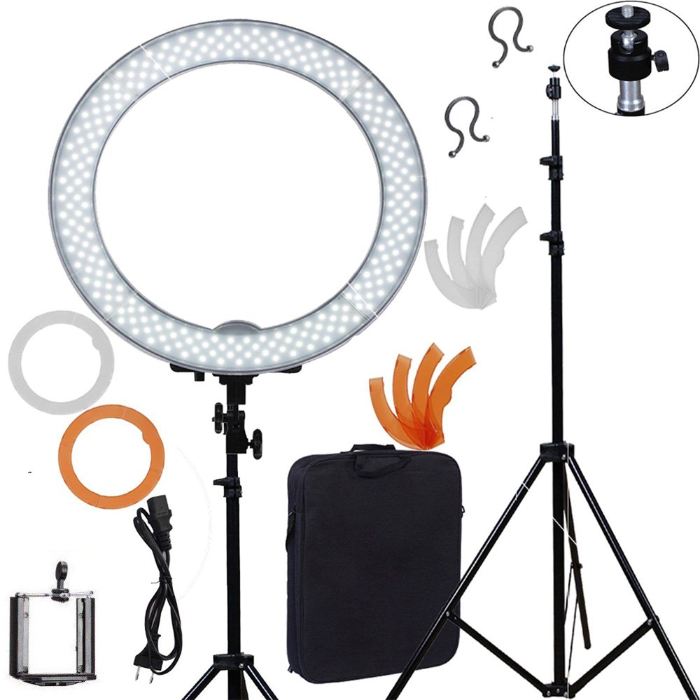 Meking LED Ring Light For Camera Photo/Studio/Phone/Video 1855W 5500K Photography Dimmable Ring Lamp with Plastic Tripod Stand fotopal led ring light for camera photo studio phone video 1255w 5500k photography dimmable ring lamp with plastic tripod stand
