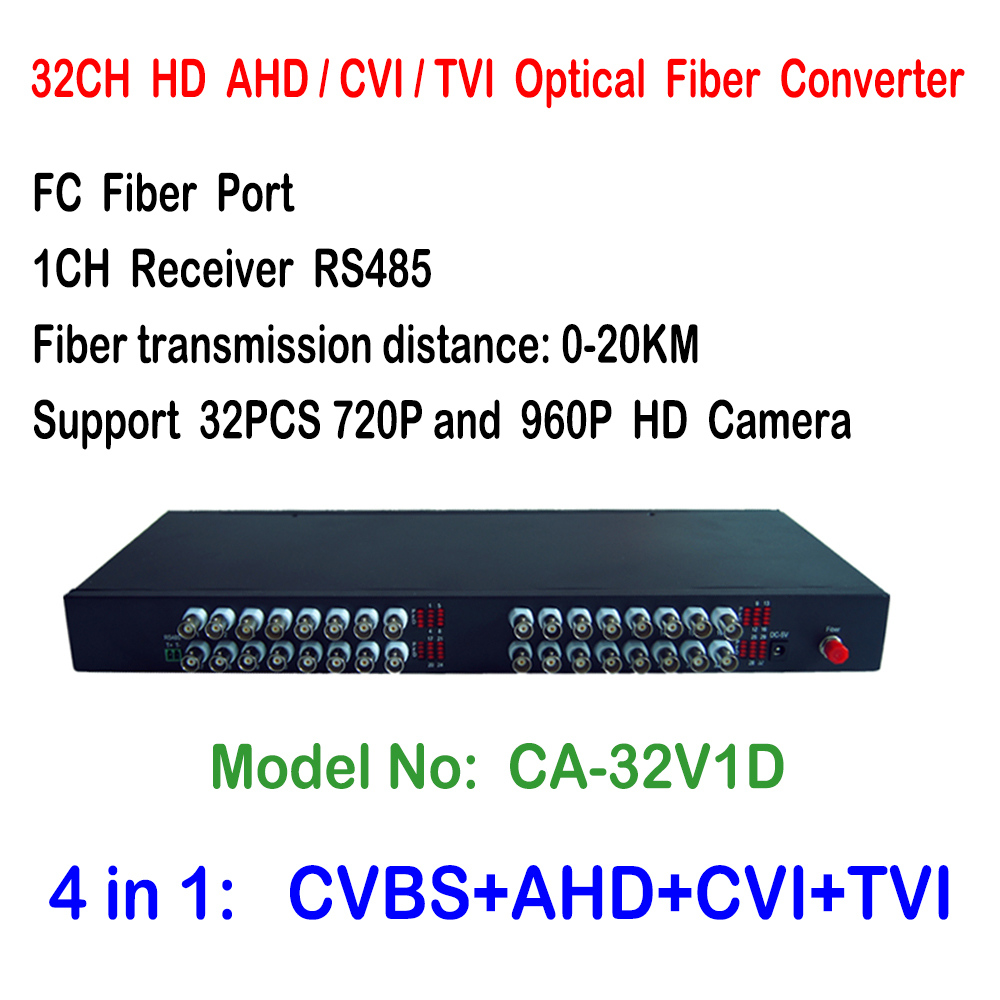 32 CH 960P 720P AHD CVI TVI Video Fiber Optical Media Converter Extender 32CH BNC Video 1ch RS485 Sing-mode 20KM With 1U Chassis
