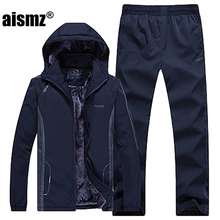 Aismz Men's Sportswear Sets Moleton Velvet Hoodie Male Suit Plus Size Sets Men's Outerwear Coat Warm Set Pants + Jackets