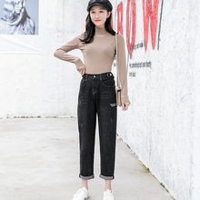 Spring Style 2019 Casual Jeans Girls Daddy pants Women's nine-minute Close-fitting