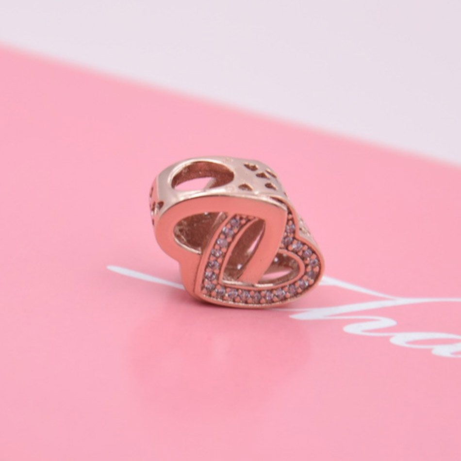 Rose Gold Filled with Romance Entwined Love Heart Joined Together ...
