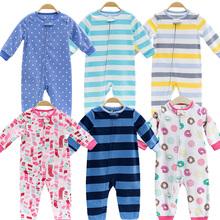 2018 Baby Odzież niemowlę dziewcząt ubrania polar Bebes chłopców znosić piżamy zamek błyskawiczny Baby Girls kombinezon Piżama tanie tanio Dziecko Rompers Paski Pełne Poliester M002 Unisex Pasuje do rozmiaru Weź swój normalny rozmiar O-Neck BABY OSCAR`S Sapphire light blue stripe