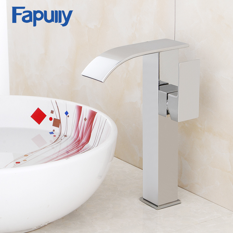 Fapully bathroom sink wall faucet tall single handle basin faucet bathroom vanity chrome waterfall faucetFapully bathroom sink wall faucet tall single handle basin faucet bathroom vanity chrome waterfall faucet