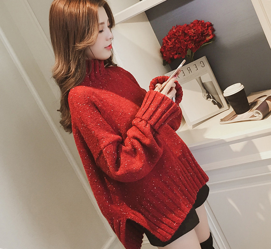 Turtleneck sweater women pullover Knitted sweaters female 2018 Autumn winter fashion loose casual sweater Jumpers Red Green