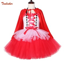 Halloween Costumes For Girls Princess Little Red Riding Hood Tutu Tulle Dress And Cloak Child Kids Christmas Cosplay Costume