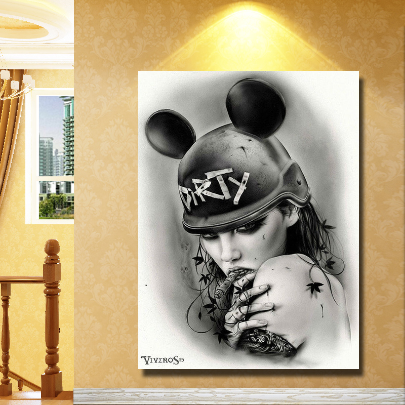 Black and White Hand made Sexy Girl Oil Painting Home Decoration ...