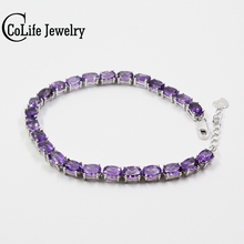 Классический 100% натуральный аметист браслет из 925 одноцветное стерлингового серебра старинные хрустальные браслет для женщины Вечеринка ювелирные изделия