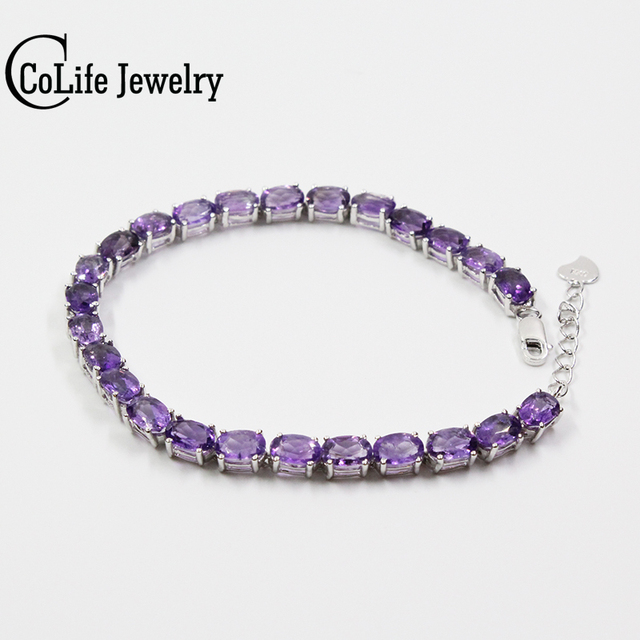 Classic silver amethyst bracelet  25 pcs natural VVS amethyst bracelet 925 Sterling Silver amethyst jewelry for evening party