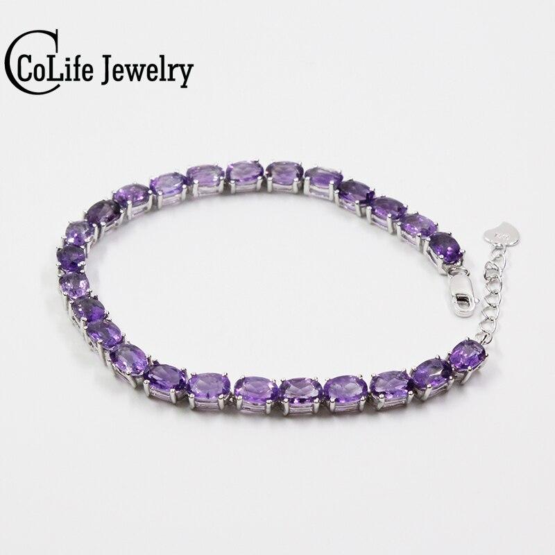 Classique argent améthyste bracelet 25 pcs naturel VVS améthyste bracelet 925 En Argent Sterling améthyste bijoux pour soirée