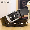 IFENDEI Faux Leather Belt Women 2016 New Candy Colorful Thin Belts Fashion Heart Rhinestone Design Belt Waist Cinturones Mujer