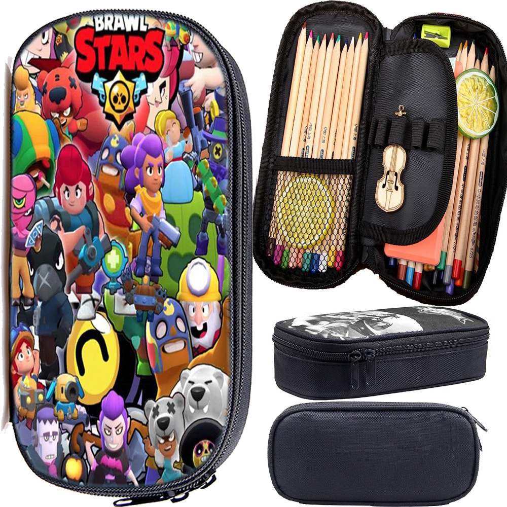 Cosmetic Cases Pencil-Bag Stationary-Supplies Brawl Stars Multifunction Boys Hot Back-To-School-Gift