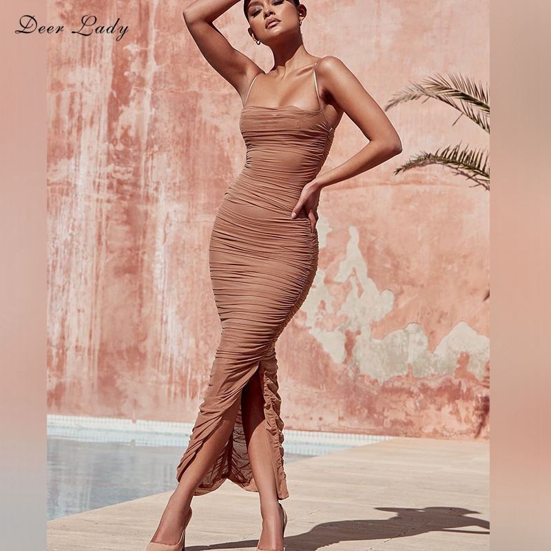 Deer Dame 2018 Sommer Kleid Frauen Lange Club Elegante Bodycon Maxi Kleid Slit Strap Sexy Mesh Organza Kleid Braun Für party Nacht