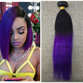 Full Shine Straight 100 Real Human Hair Weft Brazilian Remy Hair One Bundle Hair Weaving Ombre Color 1B Purple 100g High Quality
