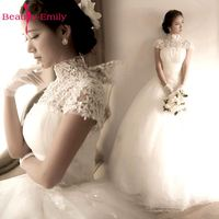 Beauty Emily Elegant Lace White Wedding Dress 2018 Ball Gown High Long Train Backless Vintage Robe