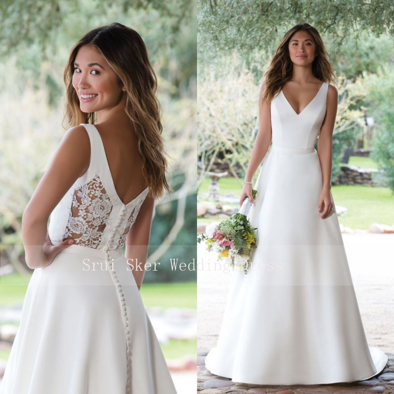 White Wedding Dress Satin V Neck Gown