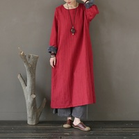 Winter Dress Women Cotton Linen Thick Warm Fleece Long Dress Vintage Chinese style Original design Dress Robe Femme A269