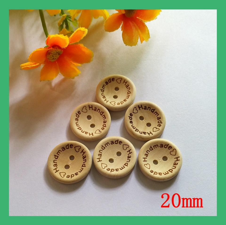 (120pcs /lot) 20mm made with love unfinished natural wooden button Scrapbooking supplies ...