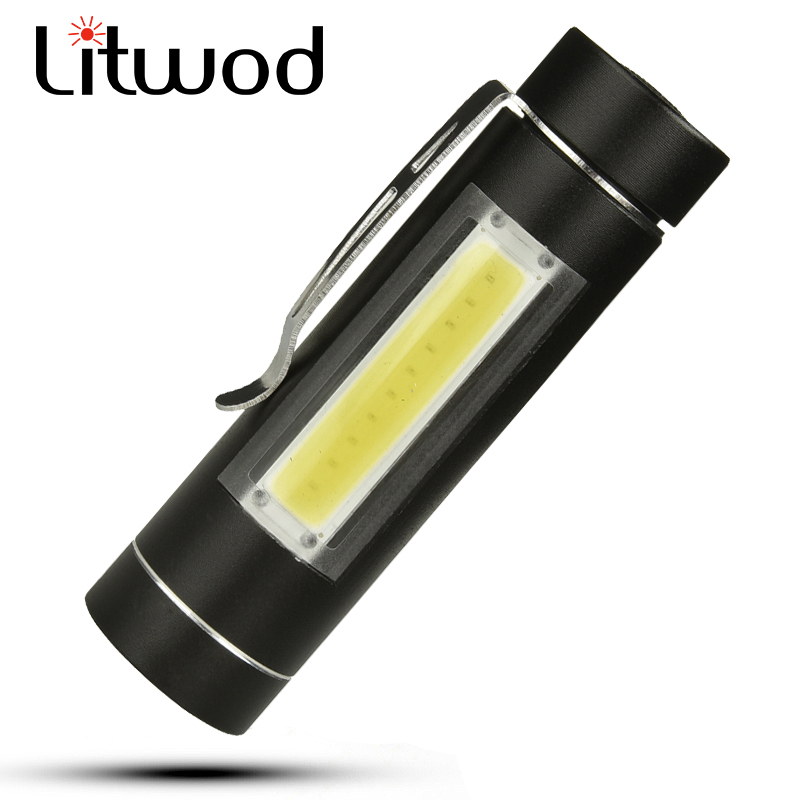 Litwod z201516 LED MINI Flashlight LED COB Waterproof Aluminum 1 Mode Torch use 14500 or AA Battery For Camping working lantern