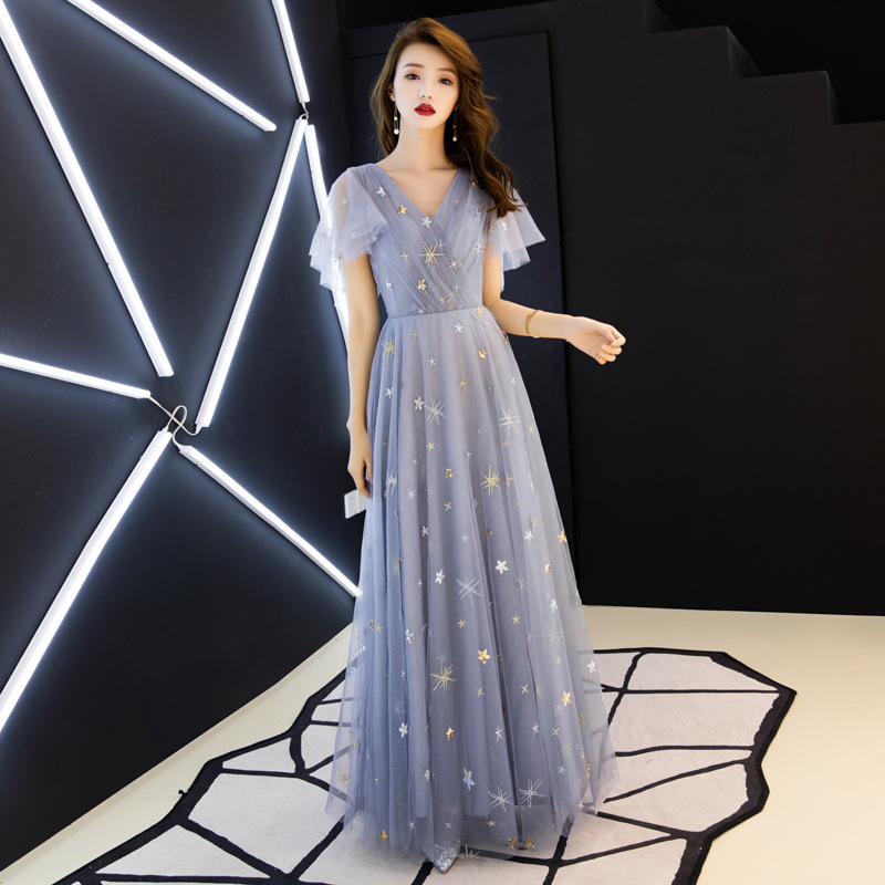 Evening     Dresses   2019 New Long Style Fashion Party   Dresses   Sexy V-neck Short Sleeve A-line Prom Formal   Dresses   Haute Couture