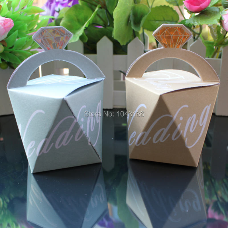 50pcs Luxury Diamond Blue Candy Box Wedding Decoration Jewelry Gift Case Pouch Favor Sweets Chocolates Boxes Hot Sale
